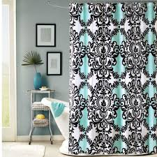 colorful fabric shower curtains. Blue Fabric Shower Curtain With Black Colored Classic Motif Round Chrome Rod Ring Colorful Curtains R