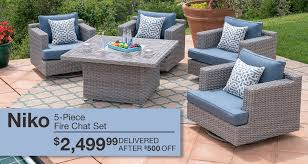 patio outdoor furniture niko 5 piece fire chat set 2 499 99 delivered after 500 off niko 5 piece fire chat set 2 499 99 delivered after 500 off