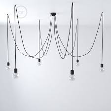 black ceramic spider multiple ceiling light with 6 7 pendants rm04 black cable
