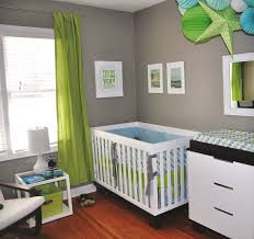 small baby room ideas. Baby Room Design With Gray Wall Paint Ideas And Green Curtains For Small Spaces N
