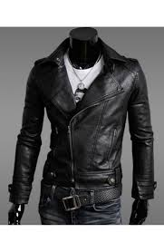 men s slim fit asymmetrical zip black faux leather jacket
