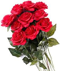 Pauwer 12PCS <b>Moisturizing</b> Real Touch <b>Artificial Rose Flower</b> with ...