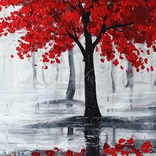 large modern abstract red black tree hand paint