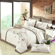 brown bedding sets brown luxury cotton embroidered bedding sets silk feeling queen king size fl designer