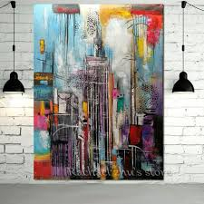 hand painted modern abstract oil painting on canvas