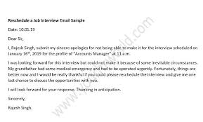 Email Sample For Job Sample Reschedule Job Interview Email Template Your Hr World