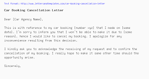 Car Booking Cancellation Letter