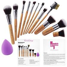 Emax Design Sponge Emax Design Makeup Brush Set 12 Pieces Professional Bamboo Handle Cosmetics Brushes And 1 Piece Beauty Sponge Blender