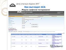 Презентация на тему Автоматизированная среда аттестации АСА  14 Центр аттестации Академии ВЭГУ Как выглядит АСА Модуль графиков тестирования
