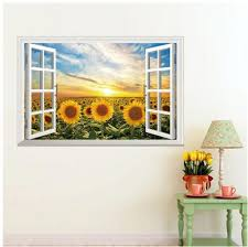 Sunflower home decor Bouquet Souqcom False Window Sun Sunflower Home Decor Wall Stickers Souq Uae