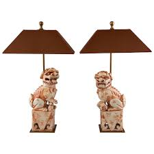pair of porcelain foo dog table lamps at 1stdibs