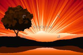 Sunrise Landscape And Design Image Of Amazing Natural Sunrise Landscape With Tree Silhouette Vector I