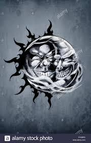 Schizzo Di Arte Del Tatuaggio Sole E Luna Foto Immagine Stock
