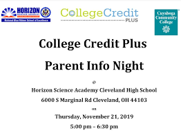 College Credit Horizon Science Academy Cleveland High