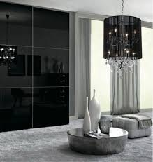 plush black shade double crystal chandelier black shaded chandelier