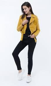 jacket in imitation leather mustard
