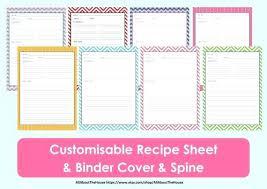 Printable Recipe Sheet Template Card Binder Organisation Editable
