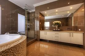 bathroom designs luxurious: sleek contemporary bathroom design in brown with tiled jacuzzi tub