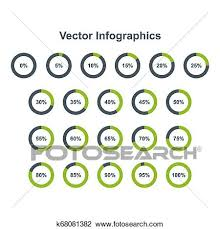 Set Of Pie Chart Infographic Elements 0 5 10 15 20 25