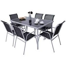7 pcs steel table chairs dining set