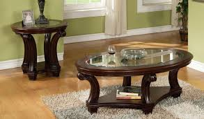 us glass top wooden coffee table set montreal round coffee and end table sets dark wood