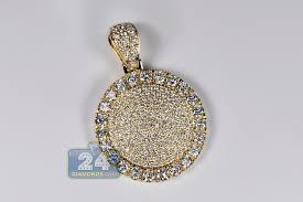 mens diamond round medallion pendant 14k yellow gold 7 73 ct