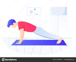 man doing plank exercise core workout exercising at home side view stock