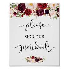 Rustic Burgundy Red Floral Guestbook Wedding Sign Zazzle Ca