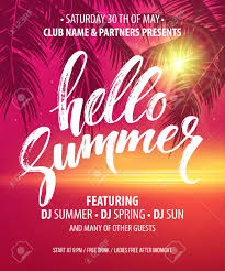 Part Flyer Hello Summer Party Flyer Vector Design Eps10 Royalty Free Cliparts