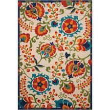 nourison aloha multicolor indoor outdoor rectangular 5 ft 3 in x 7 ft 5 in rug
