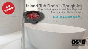 island tub drain installation concrete