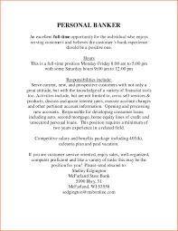 Personal Banker Job Description For Resume Paperweightds Com