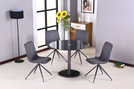 casual round glass table with tempered glass top with black painting middle in round with
