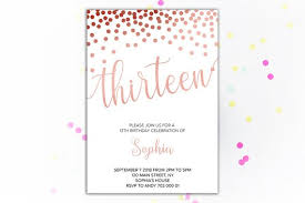 13th Party Invitations 13th Birthday Invitations Rose Gold Confetti Birthday Invitation Elegant Simple Girl Birthday Invite Printable Thirteenth Birthday Invites