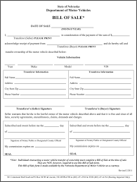 Free Nebraska Motor Vehicle Bill Of Sale Form - Pdf | 37Kb | 1 Page(S)