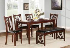 6 pc brooksville collection warm cherry finish wood dining table set with upholstered seats