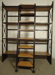 Industrial Wood and Iron Shelving Unit with Sliding Ladder 3