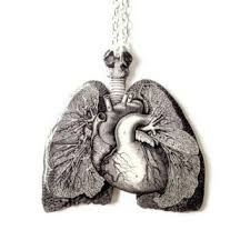 anatomical lungs heart necklace