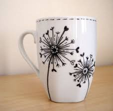 Mug Design Ideas Dandelions Hand Painted White Ceramic Mug