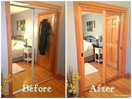 closet door mirror mirrored makeover i covered the existing doors with inside design 9 bypass