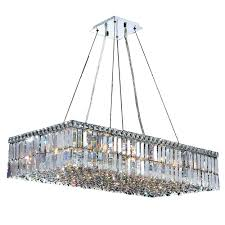 chandeliers worldwide lighting cascade collection 16 light polished chrome crystal rectangle chandelier home depot crystal