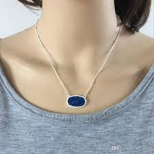 whole druzy drusy necklace kendra scott hexagon resin stone necklaces silver plated collar jewelry gift mens gold chains necklace charms from