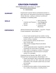 Prompt Anserphone Remote Answering Service Operator Resume Sample