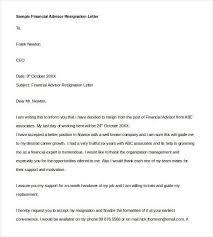 Sample Financial Advisor Resignation Letter1