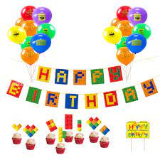LEGO Theme Party Decoration Supplies Kids Happy Birthday Banner Balloons Cake  Topper