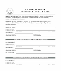 Employment Emergency Contact Form Employee Emergency Contact Form Template Next Of Kin Lapos Co