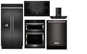 Black And Stainless Kitchen Kitchenaid Complete Kitchen Package Built In Black Stainless Steel