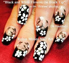 Nail Art Tutorial | DIY Black and White Flower Nail Design ...