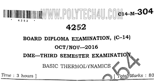 Basic thermodynamic old question papers (304)-c-14-DME Oct/Nov-2016 ...
