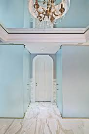 new york shower bathroom beach style with chandelier shade outside mount roman shades
